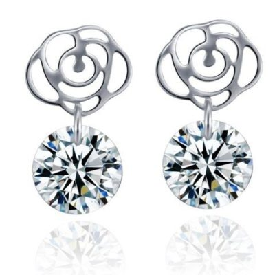 Sterling-Silver-Cubic-Zirconia-Rose-Earrings-with-Alfred-Co-Jewellery-Box-B01LK1IM2A
