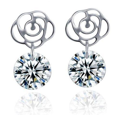 Sterling Silver Cubic Zirconia Rose Earrings