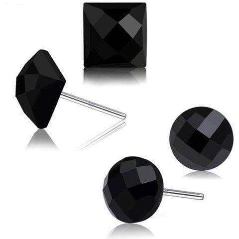 Sterling Silver Earrings Black Stud Style