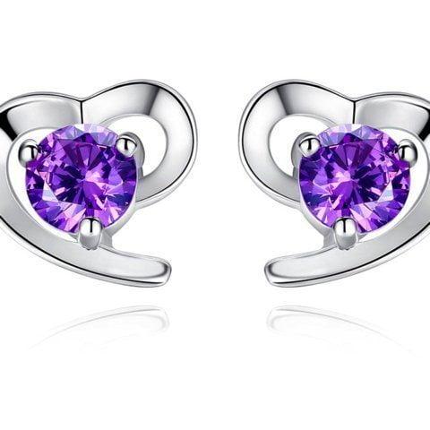 Sterling Silver Earrings Cubic Zirconia Heart Style