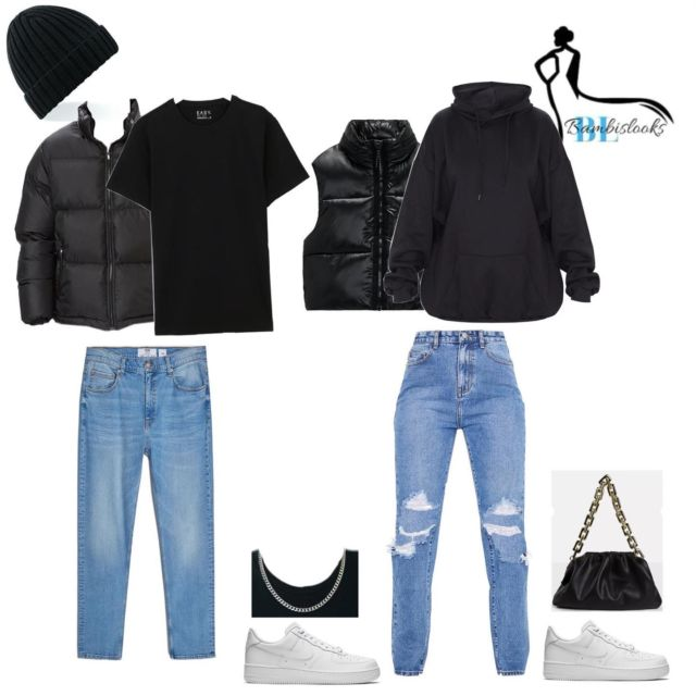 His & hers simple fit🖤 - - -  His:  Any Black Beanie Faded - Puffa Jacket Black  Any Plain Black Oversized Tee Bershka - Slim Fit Jeans  Alfred& Co Jewellery- Mens Silver Chain Necklace   7mm Width Nike Air Force 1 Low White  Hers :  Zara - Puffer Gilet  Any Plain Black Oversized Hoodie PrettyLittleThing - Mid Blue Wash Ripped Knee Long Leg Straight Jeans  Misguided - Black Chain Pouch Shoulder Bag  Nike Air Force 1 Low White  _______________  If you're viewing this follow bambislooks for more🤍